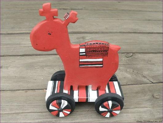 """Игрушки животные, ручной работы. Ярмарка Мастеров - ручная работа. Купить Интерьерная игрушка """"Олень"""" на колесиках. Handmade. Олень, игрушка"""