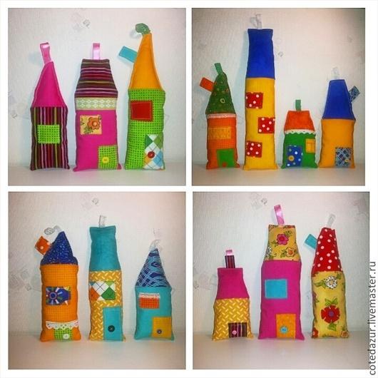 Детская ручной работы. Ярмарка Мастеров - ручная работа. Купить Текстильные домики-подвески. Handmade. Разноцветный, домики, Декор