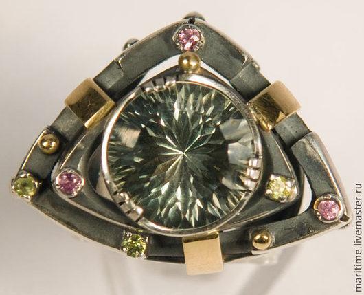 """Кольца ручной работы. Ярмарка Мастеров - ручная работа. Купить Кольцо с празиолитом """"Энн"""". Handmade. Серебро, натуральные камни, золото"""