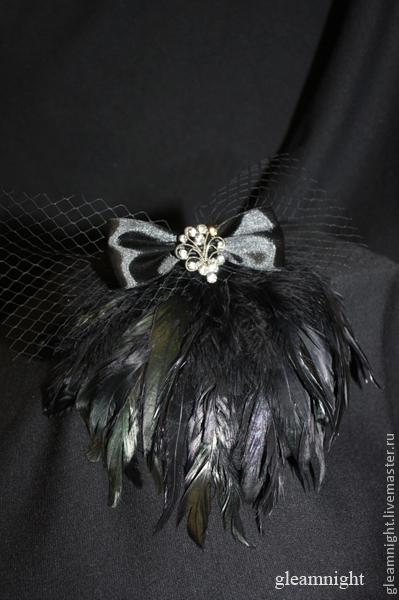 Шляпы ручной работы. Ярмарка Мастеров - ручная работа. Купить Вечерняя шляпка-таблетка с перьями. Handmade. Черный, черная шляпка