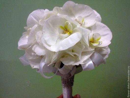 Букеты ручной работы. Ярмарка Мастеров - ручная работа. Купить Букет невесты белый с орхидеей фаленопсис.. Handmade. Белый, орхидея