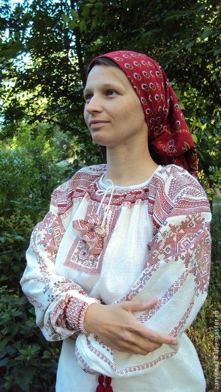 """Одежда ручной работы. Ярмарка Мастеров - ручная работа. Купить блузка с поликами""""Макошь"""". Handmade. Женская блузка, белая блузка"""