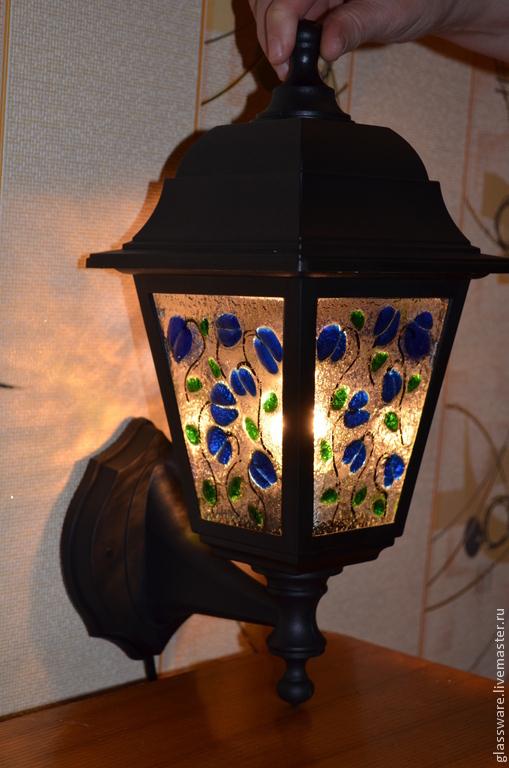 """Освещение ручной работы. Ярмарка Мастеров - ручная работа. Купить Фонарь """"Колокольчики"""". Handmade. Синий, колокольчики, художественное стекло"""
