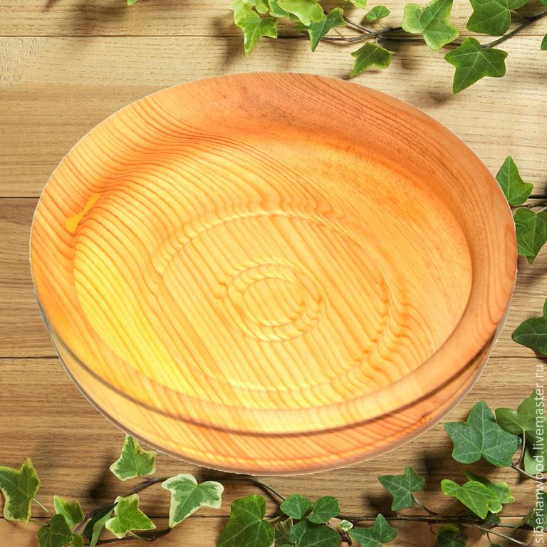 Кедровая тарелка 16см блюдце из сибирского кедра - ручная работа #T10, Тарелки, Новокузнецк,  Фото №1