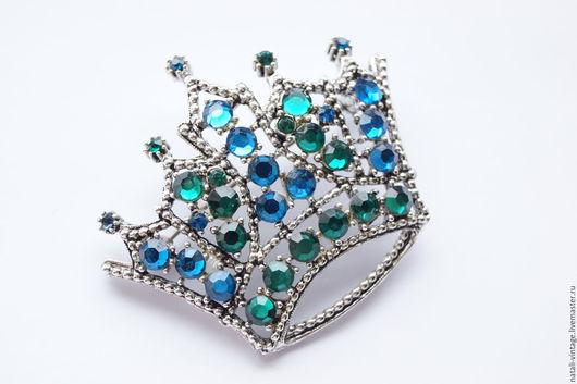 """Винтажные украшения. Ярмарка Мастеров - ручная работа. Купить Брошь корона  """"Королевская особа"""", WEISS, винтаж. Handmade. Зеленый"""