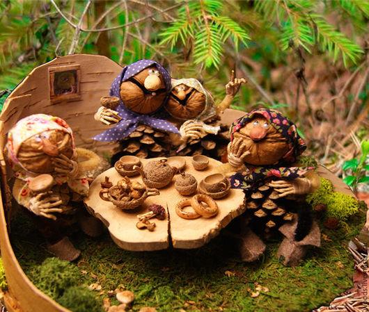 Человечки ручной работы. Ярмарка Мастеров - ручная работа. Купить Из жизни лесных бабок 2. Песня.. Handmade. Коричневый