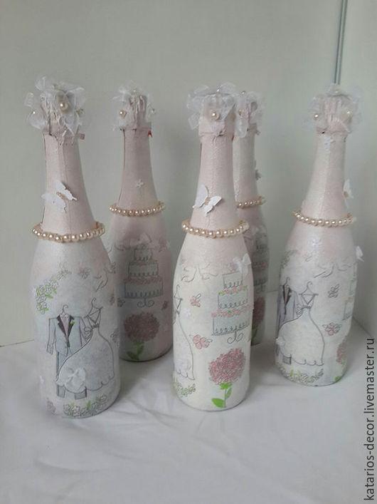 Свадебные аксессуары ручной работы. Ярмарка Мастеров - ручная работа. Купить Свадебный декор бутылок. Handmade. Разноцветный, нежность, декупаж
