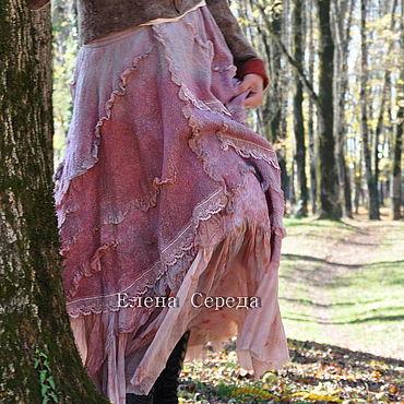 """Одежда ручной работы. Ярмарка Мастеров - ручная работа Шелковая, валяная юбка """"Малиновая изморозь"""" - 2. Handmade."""