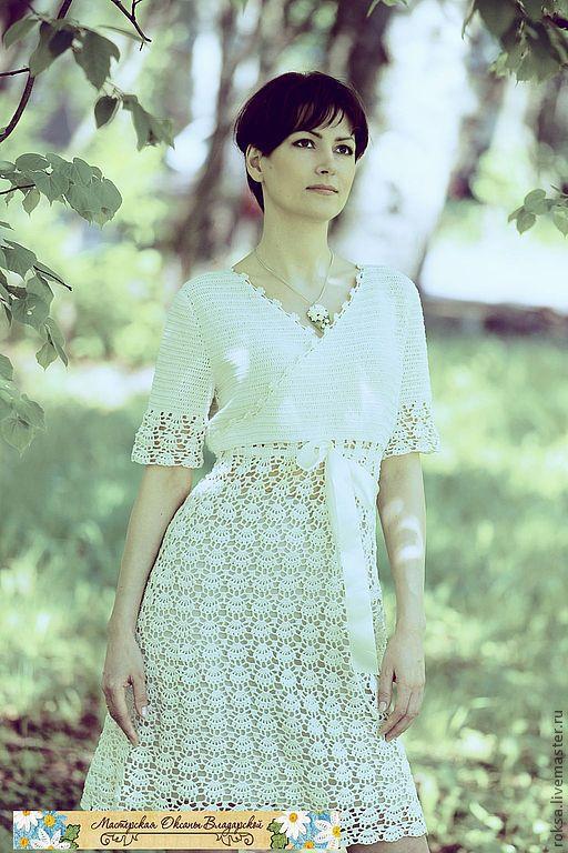 """Платья ручной работы. Ярмарка Мастеров - ручная работа. Купить Вязаное платье """"Женщина в белом"""". Handmade. Белый, ажурное платье"""