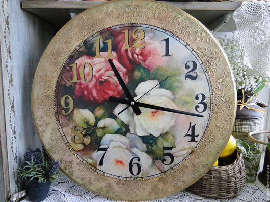 Часы для дома ручной работы. Ярмарка Мастеров - ручная работа. Купить Шикарные розы. Handmade. Бежевый, часы в подарок, розы