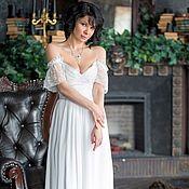Одежда ручной работы. Ярмарка Мастеров - ручная работа Белое свадебное платье с открытыми плечами. Handmade.