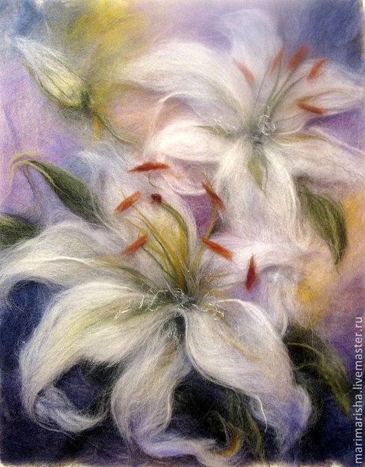 Картины цветов ручной работы. Ярмарка Мастеров - ручная работа. Купить Картина из шерсти Белые Лилии. Handmade. Белый
