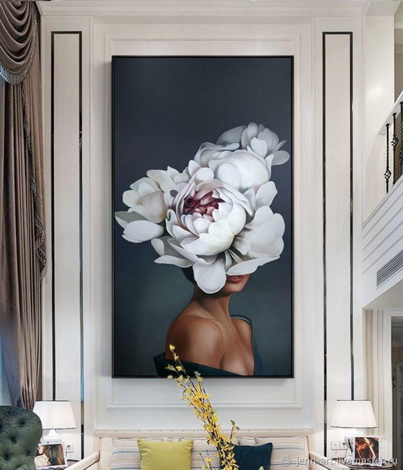 Картины маслом для интерьера с пионами. Девушка с пионом на холсте, Картины, Москва,  Фото №1