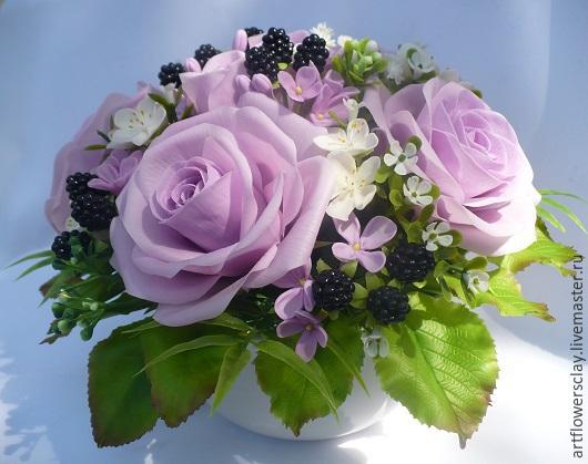 Букеты ручной работы. Ярмарка Мастеров - ручная работа. Купить Букет с розами и ежевикой из полимерной глины. Handmade. Сиреневый