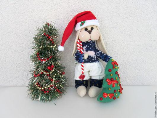 Игрушки животные, ручной работы. Ярмарка Мастеров - ручная работа. Купить Новогодний зайчик. Зайка с ёлкой. Заяц - новогодний подарок. Handmade.