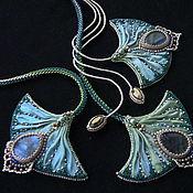 Украшения handmade. Livemaster - original item Necklace and earrings with Shibori silk ribbon,