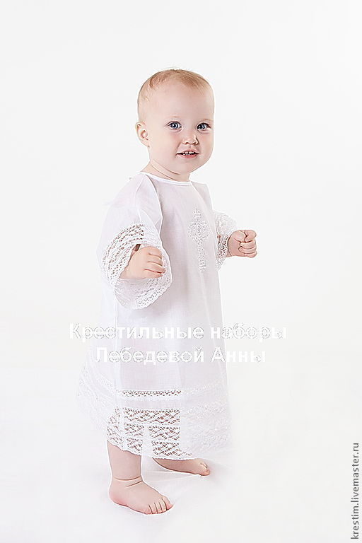 Крестильные принадлежности ручной работы. Ярмарка Мастеров - ручная работа. Купить Крестильная рубашка на 1-2 года. Handmade.