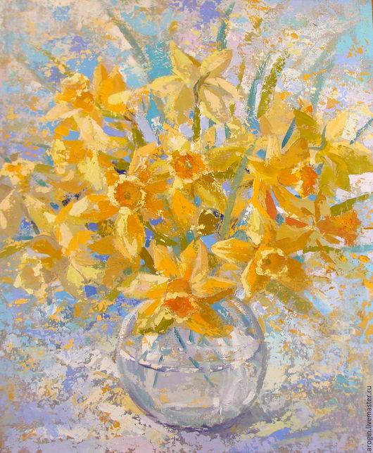 Картины цветов ручной работы. Ярмарка Мастеров - ручная работа. Купить Нарцисы. Handmade. Желтый, солнечный букет, интерьерное украшение