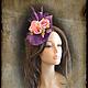 """Шляпы ручной работы. Ярмарка Мастеров - ручная работа. Купить """"Розы"""" вуалетка. Handmade. Фиолетовый, вечерняя шляпка, синамей"""