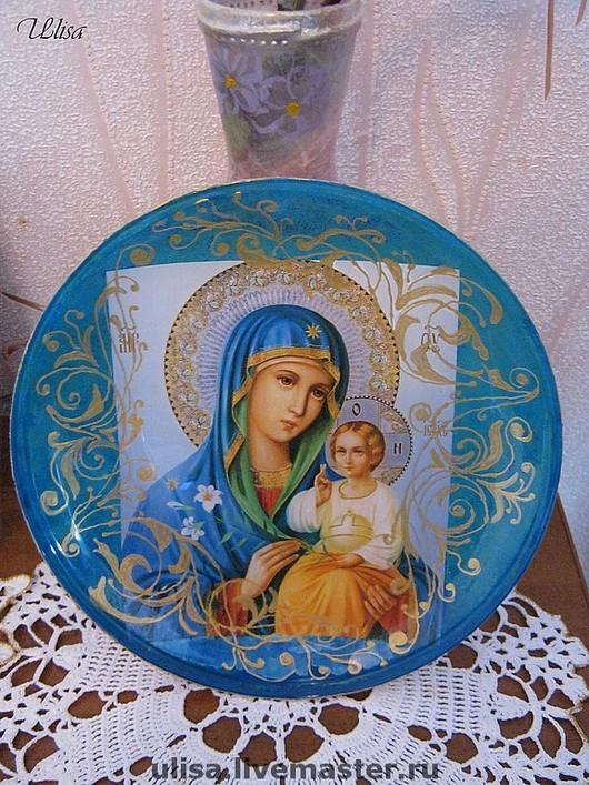 Декоративная тарелка церковной тематики (полный обратный декупаж ), и роспись по стеклу, сделаю на заказ , цена подобной работы от 950 руб.до 1500 т.руб. А так же  делаю декор тарелок техникой прямой декупаж.
