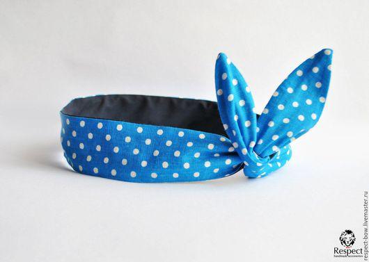 Повязки ручной работы. Ярмарка Мастеров - ручная работа. Купить Женская повязка на голову солоха ПИН-АП голубая в горох / темно-синяя. Handmade.