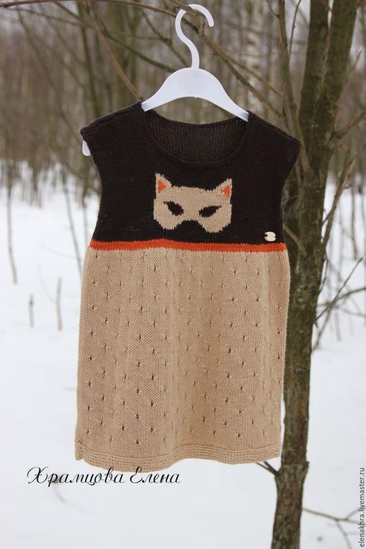 """Одежда для девочек, ручной работы. Ярмарка Мастеров - ручная работа. Купить Туника для девочки """"Супер кошка"""". Handmade. Коричневый"""