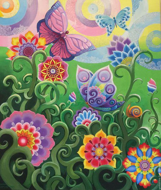 """Фантазийные сюжеты ручной работы. Ярмарка Мастеров - ручная работа. Купить Картина """"Лето"""". Handmade. Разноцветный, картина, картина с цветами"""