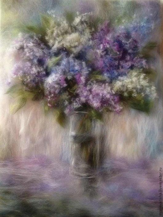 Картины цветов ручной работы. Ярмарка Мастеров - ручная работа. Купить Картина  из шерсти  Сирени пышное цветенье. Handmade. Сиреневый