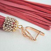 Украшения handmade. Livemaster - original item Delicate coral - very long earrings brush leather beads. Handmade.