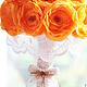 """Свадебные цветы ручной работы. Текстильный букет """"Осенняя Свадьба"""". Candy Art (Елена) Букеты из конфет. Ярмарка Мастеров."""