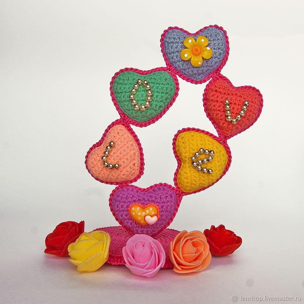 Сердечное деревце. Вязаный сувенир. День святого Валентина. 8 марта, Фотокартины, Барнаул,  Фото №1