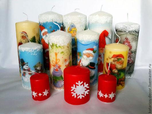 Свечи ручной работы. Ярмарка Мастеров - ручная работа. Купить Новогодние свечи. Handmade. Новый Год, рождественский подарок, декупаж