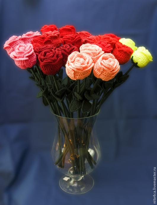 Цветы ручной работы. Ярмарка Мастеров - ручная работа. Купить Роза вязаная. Handmade. Розовый, роза, подарок женщине