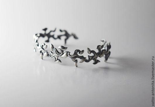 """Браслеты ручной работы. Ярмарка Мастеров - ручная работа. Купить браслет из серебра """"Зимний узор"""". Handmade. Зима, ажур"""