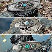Аксессуары handmade. Livemaster - original item Belt made of Python leather with black Buckle Turquoise Labrador and Adular. Handmade.