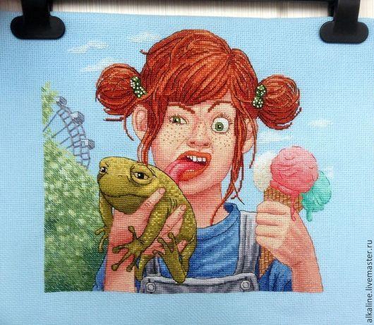"""Детская ручной работы. Ярмарка Мастеров - ручная работа. Купить Вышитая картина """"Пеппи - длинный чулок"""". Handmade. Вышивка"""