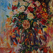 """Картины и панно ручной работы. Ярмарка Мастеров - ручная работа Картина маслом """"Яркие цветы в вазе"""" натюрморт с розами, импрессионизм. Handmade."""