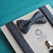 Аксессуары handmade. Livemaster - original item Dark grey tie Suspenders dark gray linen / Set Western. Handmade.
