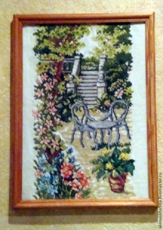 """Пейзаж ручной работы. Ярмарка Мастеров - ручная работа. Купить Вышивка крестом """"Сад"""". Handmade. Вышивка крестом"""
