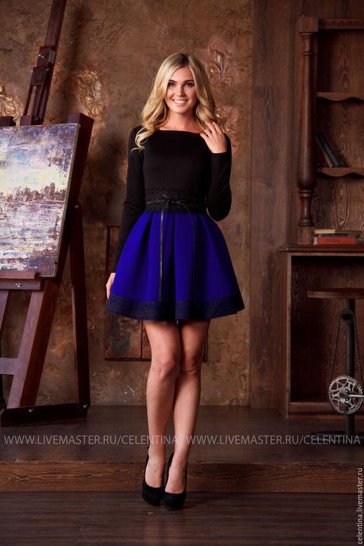 короткое платье с пышной юбкой, платье из неопрена, платье с длинным рукавом, красивое модное платье, молодежный стиль, молодежная мода, платье для вечеринки, платье нарядное, нарядное синее платье