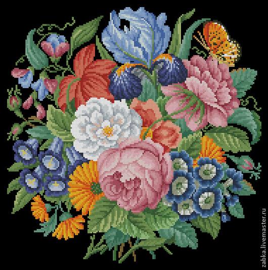 Вышивка ручной работы. Ярмарка Мастеров - ручная работа. Купить Букет с ирисом. Handmade. Схема для вышивки, цветы