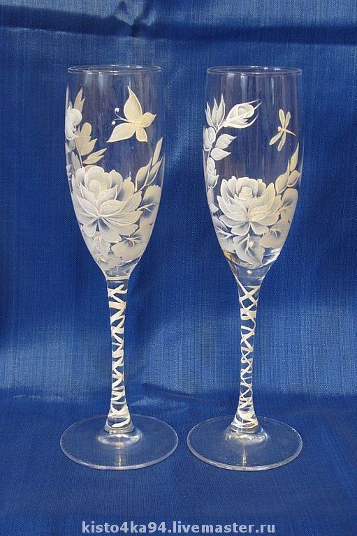 Свадебные бокалы свадебные фужеры ручная роспись уникальный дизайн подарок молодоженам на свадьбу фужеры бокалы свадебные для шампанского ручная роспись