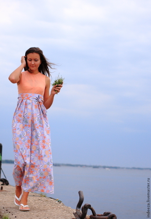 """Платья ручной работы. Ярмарка Мастеров - ручная работа. Купить Платье """" море"""". Handmade. Платье, коралловый"""
