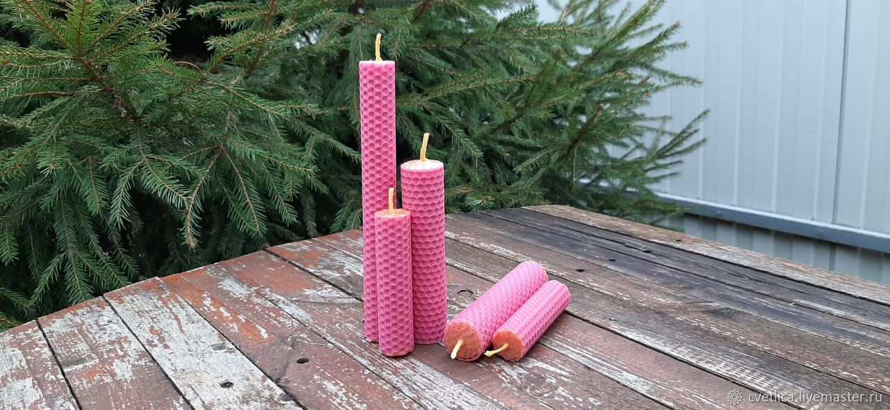 Pink wax candles, 20cm, Ritual candle, St. Petersburg,  Фото №1