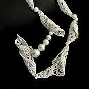"Украшения handmade. Livemaster - original item Porcelain necklace from the ""Teneta"" series with cotton pearls. Handmade."