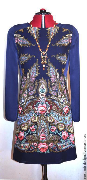 Авторское платье ручной работы. Эксклюзивное вечернее платье из павловопосадского платка и шёлкового крепа.