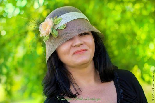 Шляпы ручной работы. Ярмарка Мастеров - ручная работа. Купить Летняя шляпка из синамей. Handmade. Летняя шляпа, шелковая роза