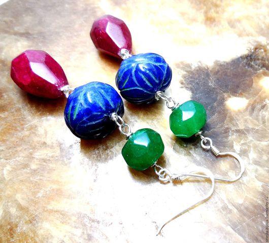 """Серьги ручной работы. Ярмарка Мастеров - ручная работа. Купить Серебряные серьги с сапфиром, изумрудом и рубином """"Власть камней"""". Handmade."""