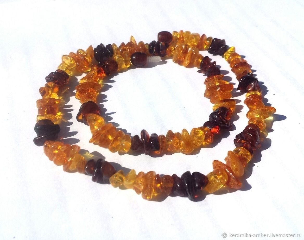 Amber beads from natural amber for woman gift, Necklace, Kaliningrad,  Фото №1