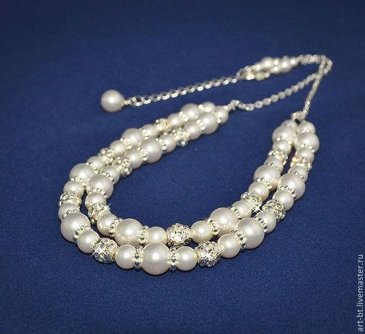 """Колье, бусы ручной работы. Ярмарка Мастеров - ручная работа. Купить Ожерелье """"Лара"""". Handmade. Белый, свадебное украшение"""